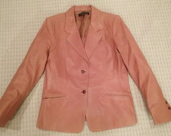 Anne Klein Tan Leather Blazer Size 12