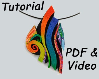 Polymer Clay Tutorial. Rainbow Pendant Tutorial Using Polymer Clay Canes.  Includes PDF and Video Tutorial to Make a DIY Necklace.