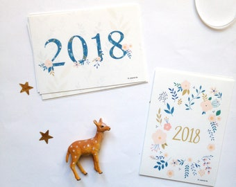 2018 - New Year's Cards - 2018 New Year's Holiday Cards - 2018 Happy New Year card - 2018 greetings cards - 2018 cards - 2018 cards set