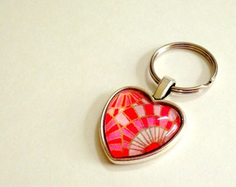 NEW Heart Shaped Keychain- Pink Checks - FOB - Zipper Pull