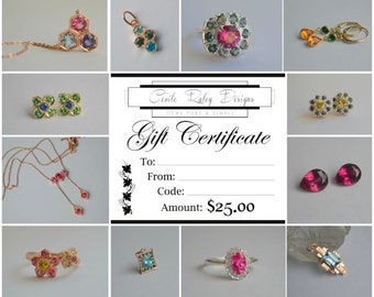 Cecile Raley Design Jewelry Gift Certificate 25.00 USD Dollars
