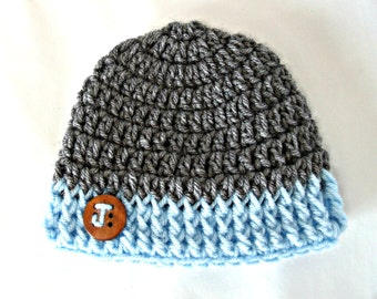 Newborn Hat - PERSONALIZED Baby hat - Babies beanie with button Newborn photography prop. Gifts under 30