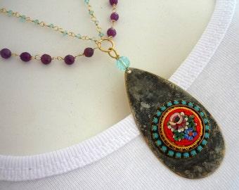 Micro mosaic pendant & purple sapphire chain necklace