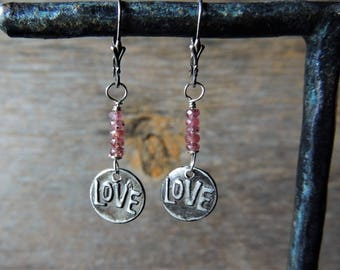 Sapphire and Silver Earrings, LOVE Charm, Pink Sapphires, Artisan Jewelry, Unique Earrings, Love Jewelry, Rustic Handcrafted, Urban Chic