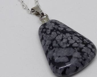 chain necklace with Silver 925 and Obsidian stone