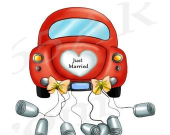 50% OFF Just Married Car, Clipart Clip art, Wedding Car clipart, wedding invitation, wedding, Honeymoon, Scrapbook, Digital, Commercial