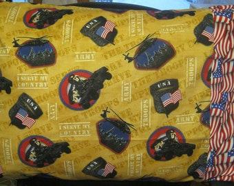 Army Pillow Cover Veteran Troop Patriotic American Flag Standard Pillow Case -Gift