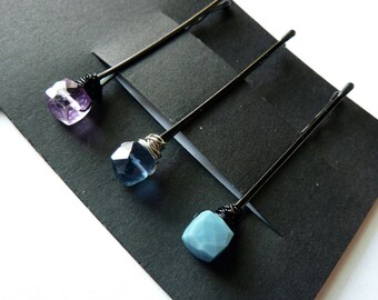 Cube Gemstone Trio Bobby Pin Pack - Blue and Purple - Lavender Amethyst , Blue Flourite, Blue Opal