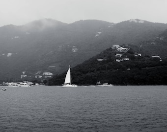 Tortola from the Water *Multiple Sizes Available* Fine Art Photography, Black and White Photography
