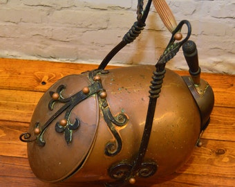 Arts and Crafts circa 1890 antique coal scuttle copper fire vintage