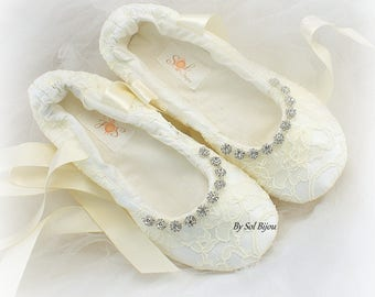 Ivory Lace Wedding Bridal Ballet Slippers with Crystal Beaded Trim and Ivory Ankle Ties, Elegant Flats