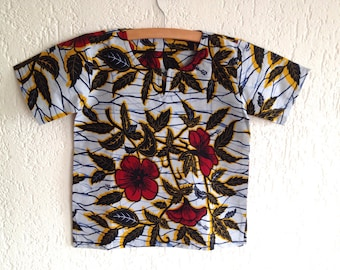 African Wax 'Red Flower' Tunic - Size 7