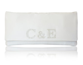 Bride and groom monogram bridal wedding clutch purse