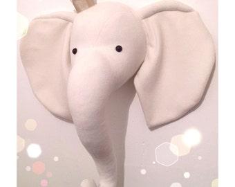 Princess elephant wall mount head. Nursery decor, animal head, faux taxidermy.