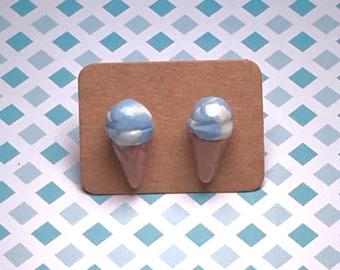 Blue moon ice cream cone earrings!!