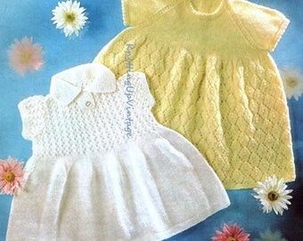 Baby Knitting Pattern pdf 2 Lacy Dresses  4 ply