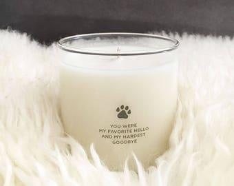 "Pet Loss Candle- ""Favorite Hello""- Dog candle + Pet Loss Gifts - Dog memorial - Memorial Gift - Pet Memorial - Pet Loss - Pet Sympathy"