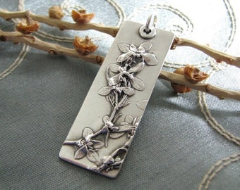 Cherish Pendant, Fine Silver, Natural Plant Reproduction, Artisan Original and Exclusive by SilverWishes, Recycled Silver