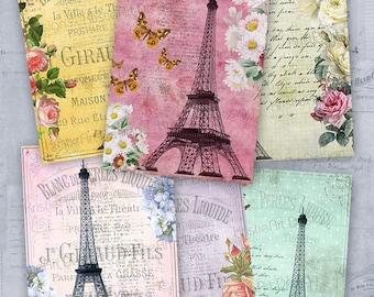 75% OFF SALE Eiffel Tower - Digital Collage Sheet Printable download Gift tags digital image atc card cardmaking card vintage scrapbooking