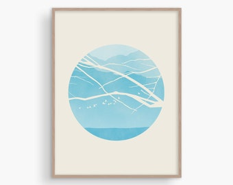 Blue Wall Art, Scandinavian Print, Mid Century Modern Art, Wall Decor Living Room, Nature Print, Tree Print, Large Wall Art Bedroom, Teal