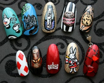 Handpainted Alice In Wonderland Press On Nails | Stiletto Coffin Almond Square Alice Nails | Custom Gothic Nails | Cosplay Alice Nails