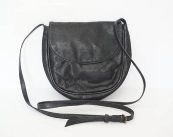 Vintage Small Black Leather Crossbody Purse