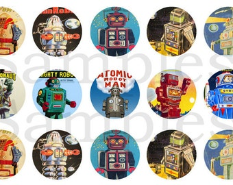 "1"" Inch Retro Robot Pinback Buttons, Flatbacks or Magnets 12 Ct."