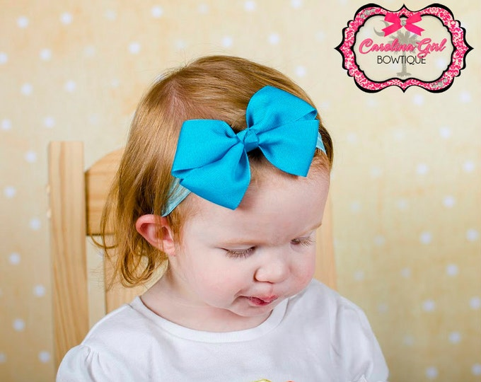Turquoise Bow Band - Turquoise Bow on an Elastic Headband Baby Infant Toddler - Girls Hair Bows