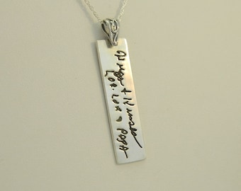 Handwriting Necklace Personalized Handwriting Jewelry in Sterling Silver