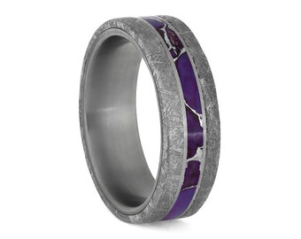 Lightning Turquoise Ring With Meteorite Edges And Titanium Pinstripes, Real Meteorite Wedding Band