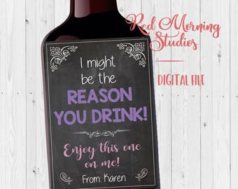 Secretary Wine label gift. PRINTABLE. secretary's day gift. i might be the reason you drink. administrative assistant day gift. coworker