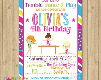Gymnastics Birthday Invitation, Gymnastics Invitation, Tumbling Invitation, Gymnastics Party Invitation, Dance Invitation