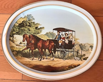 "Rear Vintage Oval Metal Tray *The Life In The Country"" The Morning Ride* By Currier And Ives* 14.5"" W X 11.5"" High*"