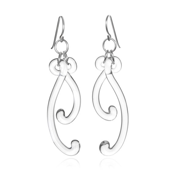 Glass Paisley Curve Earring