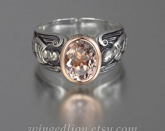 GUARDIAN ANGELS silver and 14k rose gold ring with Morganite (sizes 5 to 8.5)