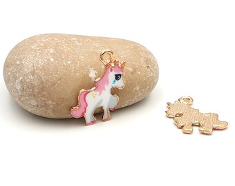 10 enameled Charms 24 mm pink Unicorn