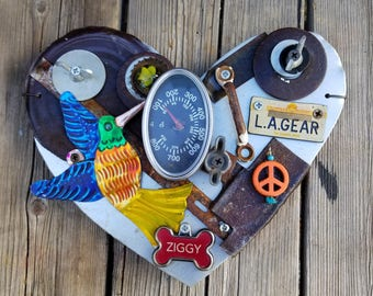 Heart Metal Rusty Recycled Steampunk Repurposed hand crafted Wall Art
