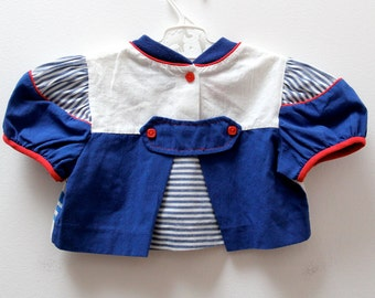 Vintage baby sailor top and matching hat by Pretty Originals of London, age 6-9 months