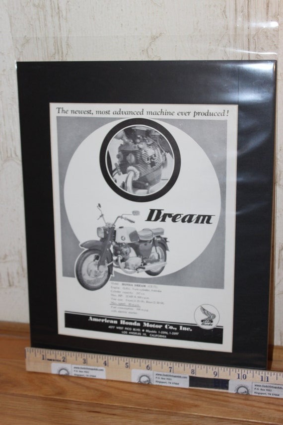 1960 Honda Dream 11'' x 14'' Matted Vintage Motorcycle Print Ad Art #6003amot01m