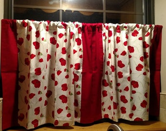 "Red Poppies; Curtain Panels 31""x22""; Kitchen Curtains, Bathroom Curtains"