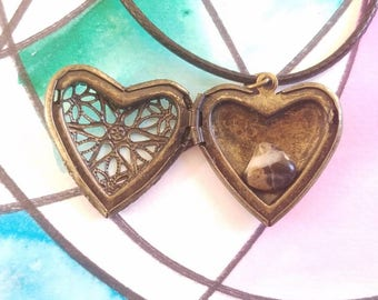Filigree heart locket necklace with surprise Stone inside Valentine's Day gift for her