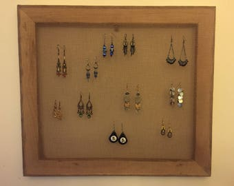 walnut stained earring display