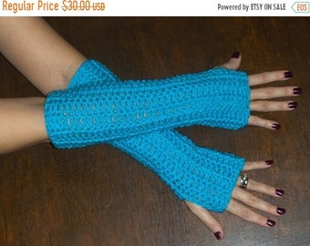 Long Fingerless Gloves Arm Warmers The Turquoise Tides Gloves Handmade Crochet Turquoise  Victorian Bohochic Smoking- Texting Gloves Parlor