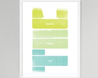 Initial Vertical Personalized Baby/Kids Art (Green, Medium)