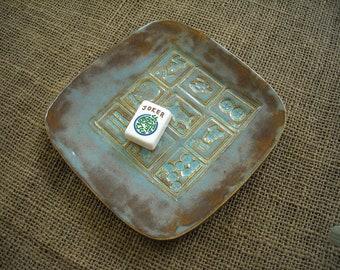 Mahjong Dish - Mahjong Pottery - Oriental  Plate - Mahjong Gift - Mahjong Dish Set - Handmade Pottery - Mahjong Plate - Mahjong Snack Dish
