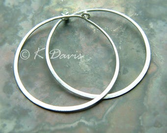 Sterling Silver Hoops, Silver Hoop Earrings, Hammered Silver Hoop Earrings Simple Minimal Hoops Brushed Finish Handmade Jewelry Gift for Her