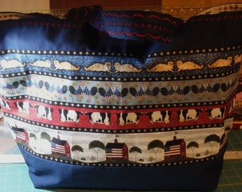 Jumbo Shopping Bag, Farmers Market Tote, Americana Tote, Grocery Bag, Shopping Bag, Red White Blue Tote, Gifts for Mom, Gifts for Her