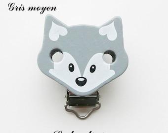 Clip / buckle, wooden pacifier Clip, Fox: medium grey
