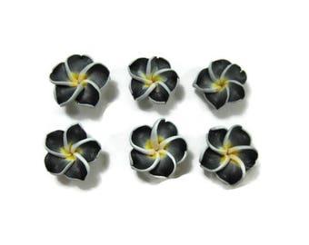 15 mm Polymer Clay Plumeria Flowers Set of 6 (SP3)