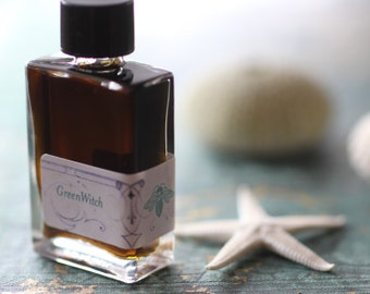 Green Witch Natural Perfume Sea Chypre Fragrance - An Offering to Tethys, the Goddess of the Sea - Organic Pure Fume 4 grams in glass bottle